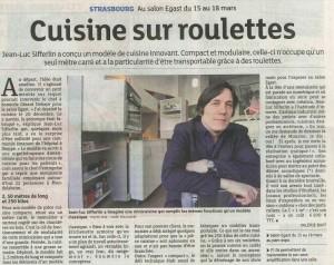 Article paru dans les Dernières Nouvelles d'Alsace le samedi 15 mars 2014 à l'occasion de la présence de la C=1m2 sur le saon EGAST