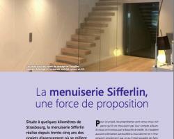 Escalier suspendu et revêtement mural gravé font l'article dans L'Agenceur Magazine.
